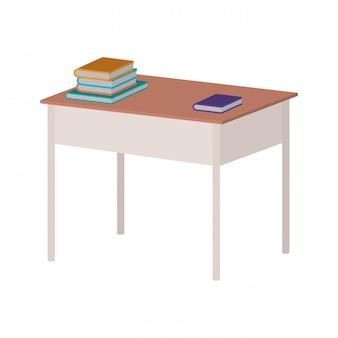 Schreibtischlehrerarbeitsplatz mit büchern