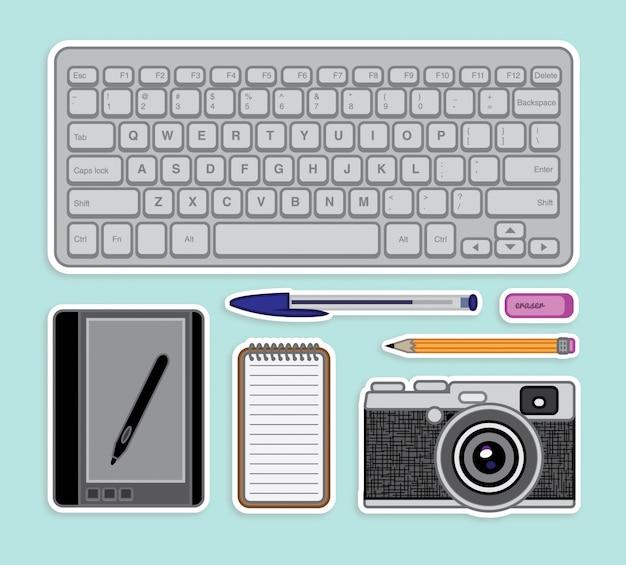Schreibtischzubehör aufkleber