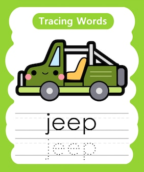 Schreibübungswörter: alphabet tracing j - jeep