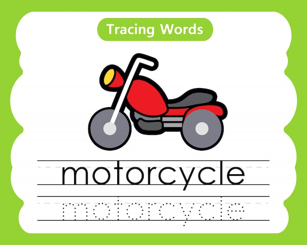 Schreibübungswörter: alphabet tracing m - motorrad