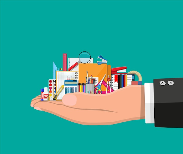 Schreibwaren in der hand. buch, notizbuch, lineal, messer, ordner, bleistift, stift, taschenrechner, schere, malbanddatei