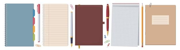 Schreibwaren-set. notizbücher und notizblöcke. sammlung