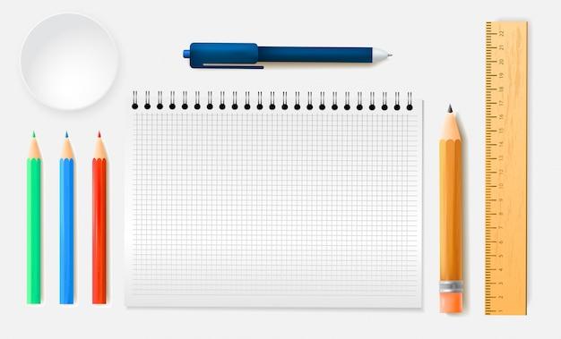 Schreibwaren-sortiment von linealen bleistiften