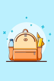 Schreibwaren und tasche für cartoon-illustration zum schulanfang
