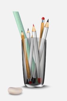 Schreibwarenset radiergummi und lineal zum glas