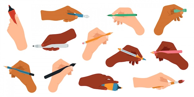Schreibwerkzeuge in der hand. stift, bleistift, stift, filzstift in den armen, schreib- und zeichenwerkzeuge illustrationssymbole eingestellt. bleistift und kugelschreiber, kugelschreiber und marker in den händen