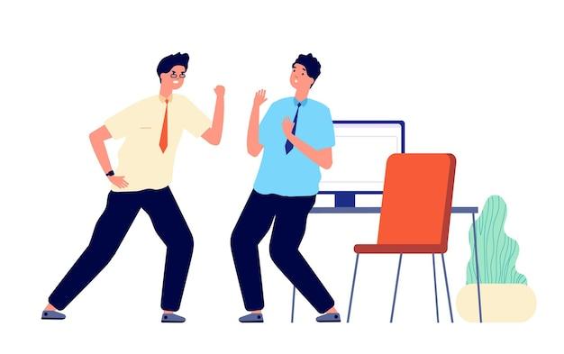 Schreiender chef. aggressiver manager schreit, mitarbeiter verärgert.
