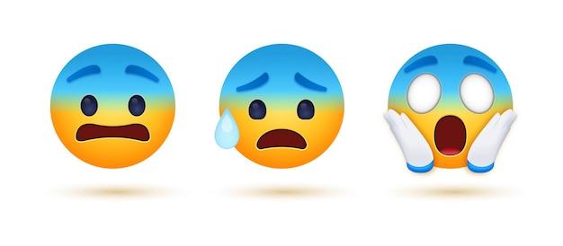 Schreiendes emoji mit ängstlichem emoticon mit schweiß und verängstigtem ängstlichen blauen gesicht