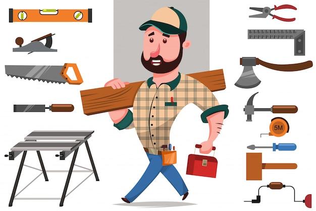 Schreiner mit einem baumstamm und einer reihe von werkzeugen für die holzbearbeitung und reparatur