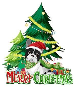 Schrift der frohen weihnachten mit weihnachtsbaum und französischer bulldogge