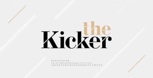 Schrift und zahl der modernen alphabetbuchstaben. elegante klassische städtische beschriftung minimale modedesigns. typografie-schriftarten groß- und kleinbuchstaben und zahlen. illustration