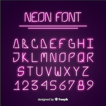 Schriftalphabet im neonstil