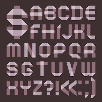 Schriftart aus lila klebeband - römisches alphabet