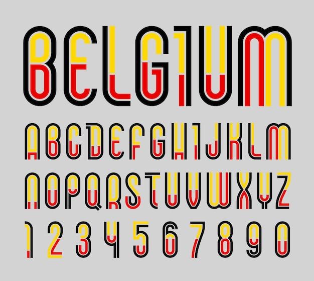 Schriftart belgien. trendiges helles alphabet, bunte buchstaben auf schwarzem hintergrund.