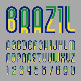 Schriftart brasilien. buntes alphabet