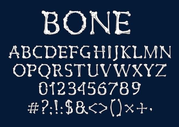 Schriftart der knochen, halloween und dia de los muertos feiertage