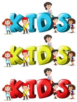 Schriftart design für wort kinder in drei farben illustration
