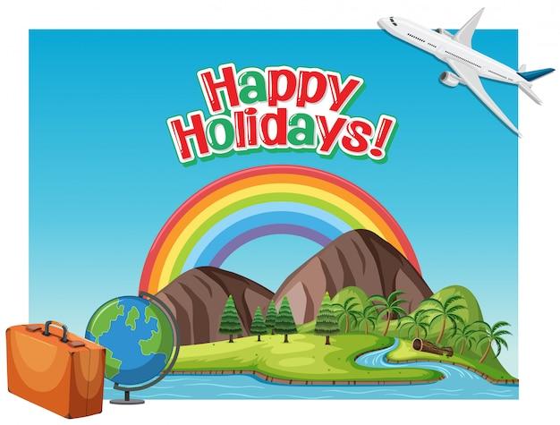 Schriftart-entwurfsschablone für glückliche feiertage des wortes mit flugzeugfliegen