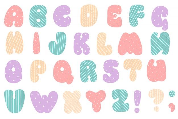 Schriftart für baby. englisches alphabet. lateinische buchstaben.