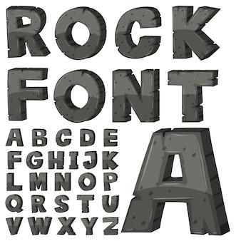 Schriftart für englische alphabete mit steinblock