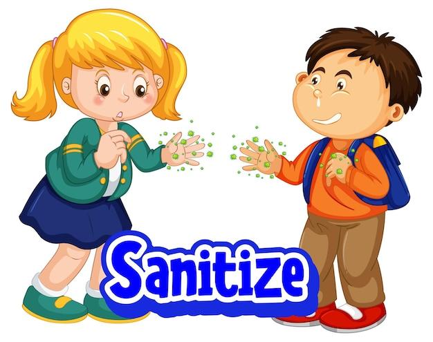 Schriftart im cartoon-stil mit zwei kindern desinfizieren, soziale distanz nicht auf weißem hintergrund halten