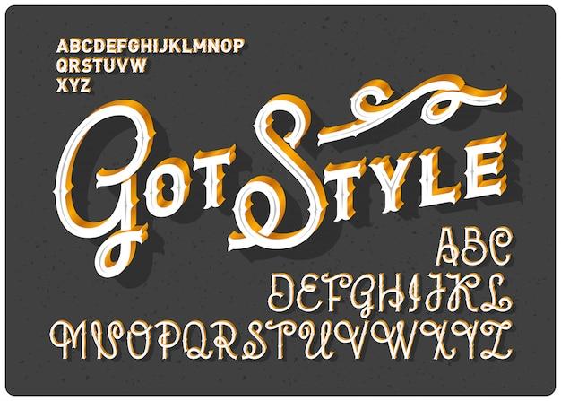 Schriftart im klassischen stil mit vintage-ornament