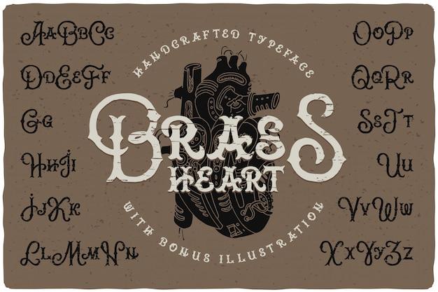 Schriftart im steampunk-stil mit herzzeichnung