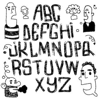 Schriftart isoliert. textur alphabet.