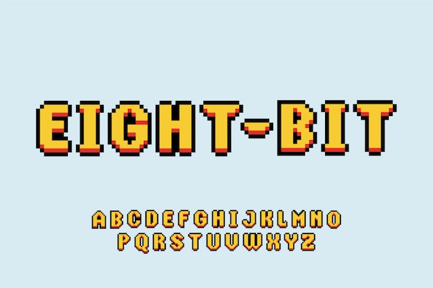 Schriftart retro-spiel schriftart stil schriftart satz alphabet