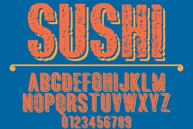 Schriftart typografie design sushi