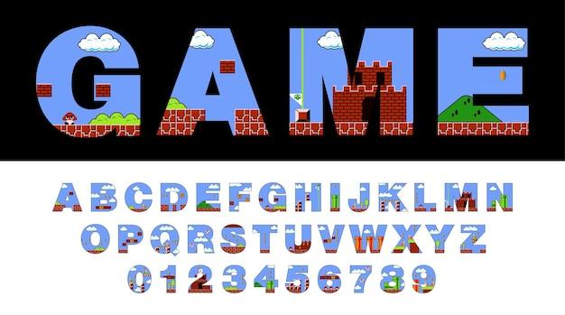 Schriftart und alphabet stilisiert auf altem videospiel.
