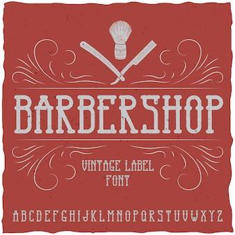 Schriftart und muster des barber shop-etiketts