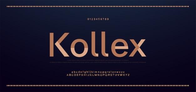 Schriftart und zahl der eleganten buchstaben. klassische kupferbeschriftung minimale modedesigns. typografie-schriftarten werden regelmäßig in groß- und kleinbuchstaben geschrieben