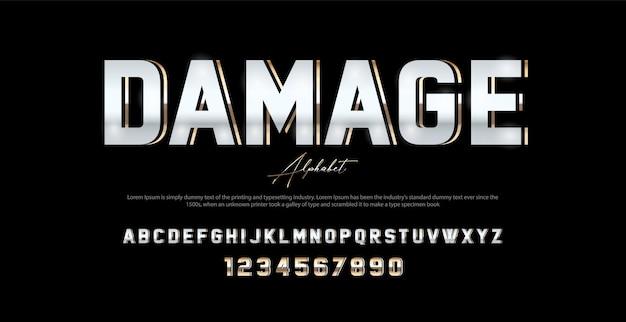 Schriftart und -zahl des modernen alphabetes des sports. typografie im urbanen stil