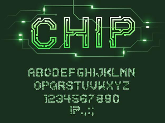 Schriftart von leiterplatten-, computer- und digitalen datentechnologien.