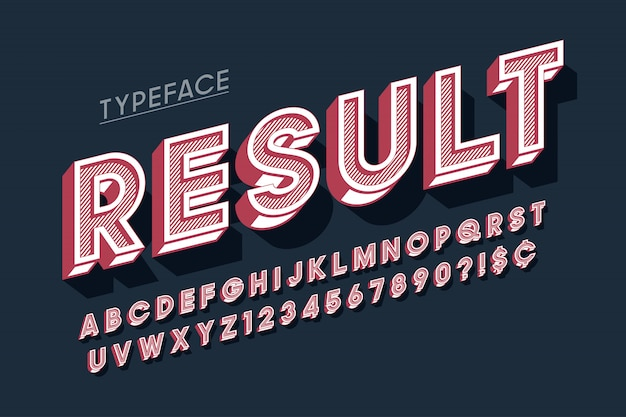Schriftdesign der anzeige vitage 3d, alphabet, buchstaben