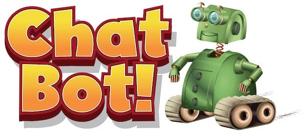 Schriftdesign für chat-bot mit grünem roboter auf weißem hintergrund