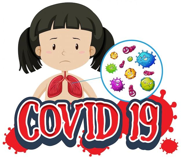 Schriftdesign für covid-19 mit mädchen und schlechten lungen