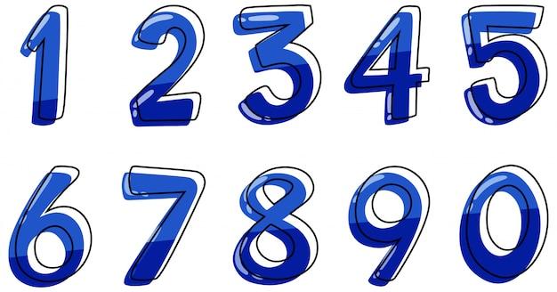Schriftdesign für die nummern eins bis null auf weißem hintergrund