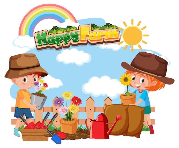 Schriftdesign für glückliche farm mit glücklichem kind und blumen
