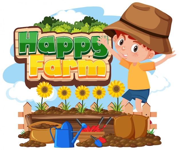 Schriftdesign für glückliche farm mit kleinen jungen, die blumen pflanzen