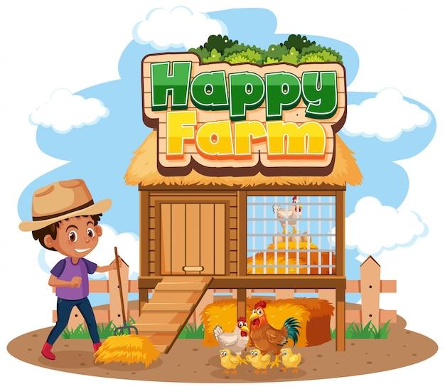 Schriftdesign für glückliche farm mit landwirt und hühnern