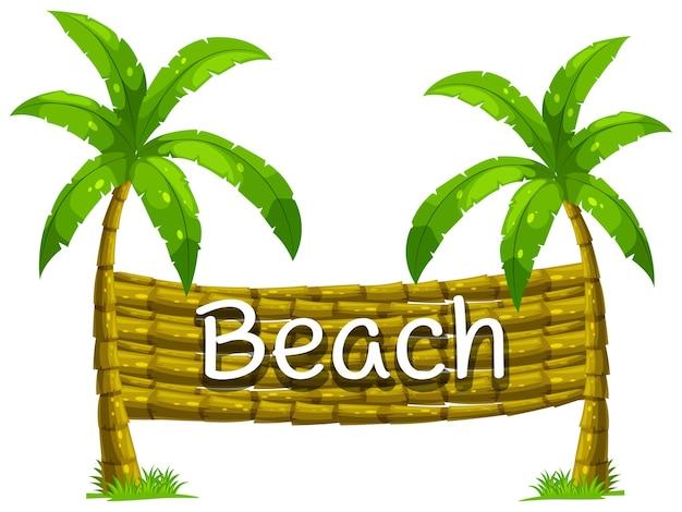 Schriftdesign für strand auf kokospalme
