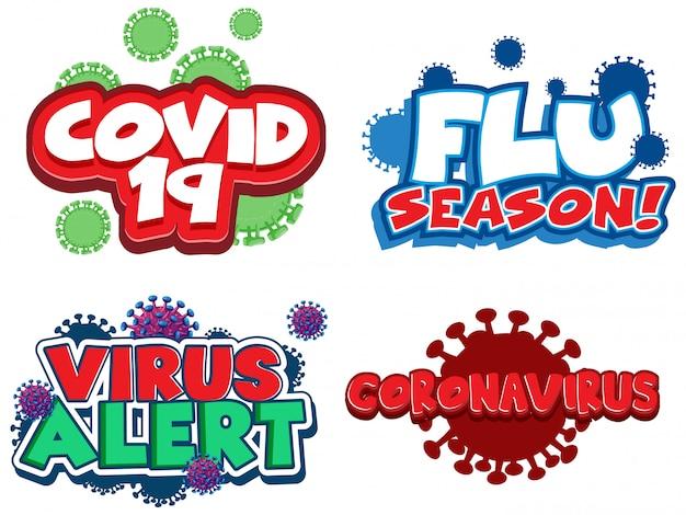 Schriftdesign für wörter im zusammenhang mit coronavirus