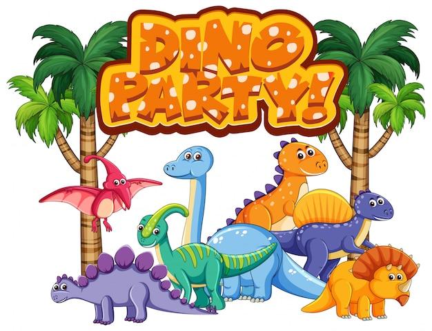 Schriftdesign für wort-dino-party mit vielen dinosauriern