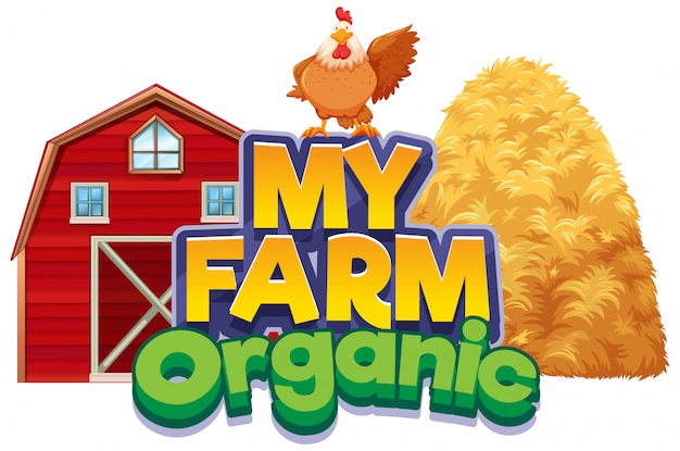 Schriftdesign für wort meine farm mit huhn und scheune