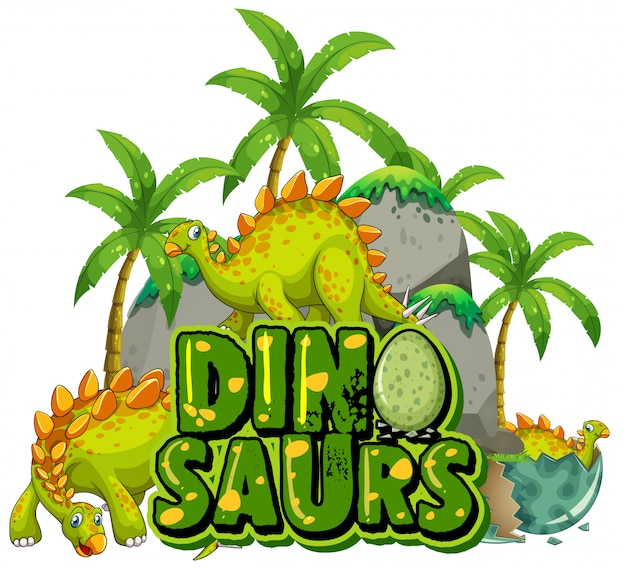 Schriftdesign für wortdinosaurier mit dinosauriern im dschungel