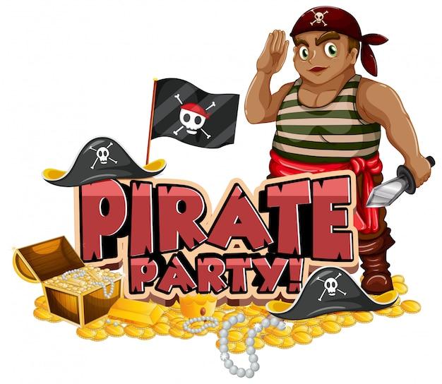 Schriftdesign für wortpiratenparty mit pirat und gold