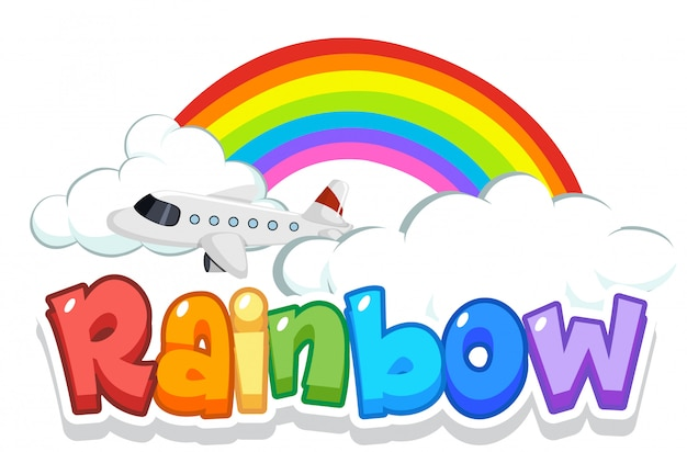 Schriftdesign für wortregenbogen mit regenbogen im himmelhintergrund