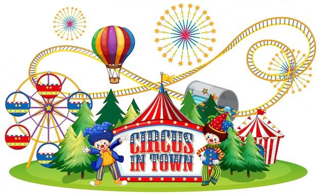 Schriftdesign für wortzirkus in der stadt mit clowns im zirkus